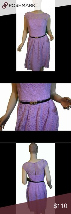 Gather and Gown Lilac Bedford Dress This Lilac lace dress has a thin black belt included. Lilac lining in the form of a tube dress underneath, so shoulders, upper back, and décolletage are only covered by lace. Has a back zipper. This dress has very little stretch. Outer dress and lining 100% Polyester. Dry Clean Only. Also avoid getting alcohol based products on the garment such as perfume and hairsprays. Gather & Gown Dresses Midi