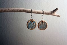 Hand Painted Clay Earrings - Queen Anne's Lace - Light Blue