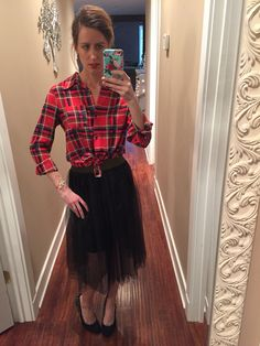 Christmas Day fashion...plaid and tulle!