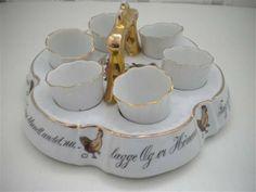 Porsgrund porselen egg oppsats 6 egg glass i porselenstativ