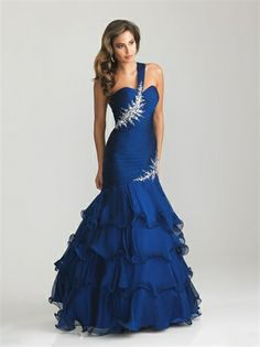 One Shoulder Ruched Beaded Bodice Layered Prom Dress PD1490 www.tidedresses.co.uk $120.0000