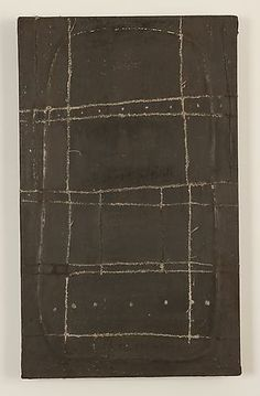 "Mark Goodwin, 2010  Black Relief, milk paint, reed, handwoven linen, on board  15.5"" x 9.5"""