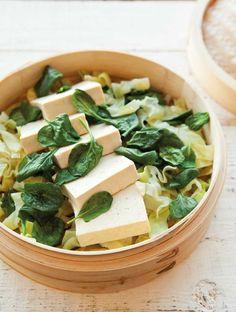 Steamed Tofu with  Greens & Peanut Sauce