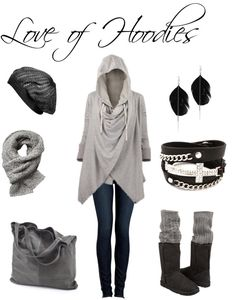 I love the hoodie and the slouch beanie, but I would ditch the boots, bracelet and scarf, and probably the bag. It could add some color. But I love the hoodie.