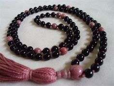 6mm Onyx with Rhodonite Hand knotted on Rose colored cotton  by Mother Earth Malas - Malas on Cotton