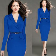 New Blue Evening Party Dresses With Belts Women Bodycon Elegant Luxury Dresses Mid Calf Sexy Long-Sleeved Business Pencil Dress >>> You can get additional details at the image link.