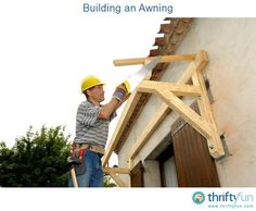 an Awning This guide is about building an awning. Making an awning can help protect a deck, window or doorway from sun and weather.This guide is about building an awning. Making an awning can help protect a deck, window or doorway from sun and weather. Porch Overhang, Porch Awning, Diy Awning, Porch Roof, Front Door Awning, Fabric Canopy, Canopy Tent, Canopies, Beach Canopy