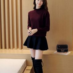 Cheapest Sweater Korean Style Turtleneck Bodycon Knit Sweater Wine Red