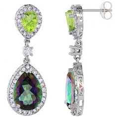 14K White Gold Natural Mystic Topaz and Peridot Tear Drop Earrings White Sapphire and Diamond Accents, 1 3/8 inches long.