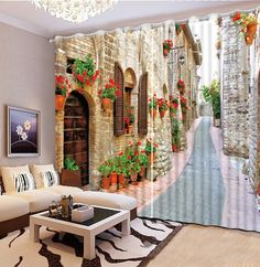 Classic Home Decor custom curtains Personalized decor europe road garden Photo Customize size 3d curtains