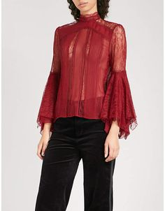 7bef67206085b4 Alice + Olivia Alice   Olivia Ivy silk-chiffon and floral-lace blouse Silk