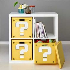 How to make a Super Mario Question Block Shelf from IKEA furniture. Downloadable printable question mark template.