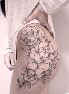 Floral tattoo on thighs by Valeriya Reyn - Flower Tattoo Designs - Tattoo Designs For Women Thigh Piece Tattoos, Floral Thigh Tattoos, Pieces Tattoo, Hand Tattoos, Body Art Tattoos, Tattoo Thigh, Tattoos On Thighs, Thigh Tattoo Flowers, Thigh Tattoo Simple