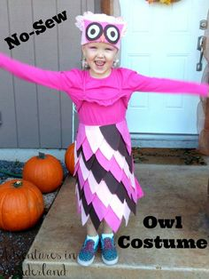No-Sew Owl Costume - easy, no sew, halloween costume that you can whip up in about an hour using recycled materials and felt! Halloween Costumes To Make, Halloween Crafts For Kids, Halloween Food For Party, Cool Costumes, Holidays Halloween, Kids Crafts, Craft Projects, Spider Crafts, Last Minute Costumes