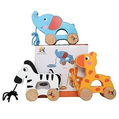 Ray's Toys Wooden Pull Along Toy, Set of 3, Giraffe, Elephant and Zebra - Toys 4 My Kids