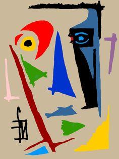 52,53$US · Digital Arts, Digital Painting  by Franck Vidal (France). Prints available from 52,53$US via #Artmajeur. Licenses available from 57$US via #Artmajeur.  #Digital Arts #DigitalPainting #PopArt #Men #Portraits Geometric Artwork, Abstract Art, Pop Art, Umbrella Art, Art Original, Outsider Art, Art Drawings Sketches, Picasso, Oeuvre D'art