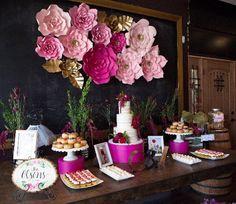12 pc Paper Flowers backdrop candy buffet decor by ShopOliposa