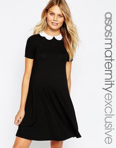 ASOS Maternity | ASOS Maternity Swing Dress with Contrast Scallop Collar With Short Sleeve at ASOS