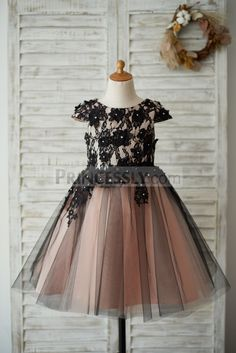 652c6cb59 Cap Sleeves Black Lace Tulle Mauve Lining Wedding Flower Girl Dress with  Beading Flower Dresses,