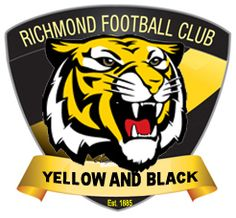 Richmond Football Club Tigers 1908 - present Victoria Richmond Afl, Richmond Football Club, Football Quilt, Football Team Logos, Australian Football League, Tiger Logo, Man Cave, Victoria, Strong