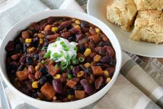 This vegetarian roasted squash chili recipe blends fresh, frozen, and canned goods into a harmonious, satisfying chili. Roasted Squash, Roasted Corn, Squash Chili Recipe, Starchy Vegetables, Vegetable Protein, Vegetarian Chili, Frozen Corn, Three Sisters