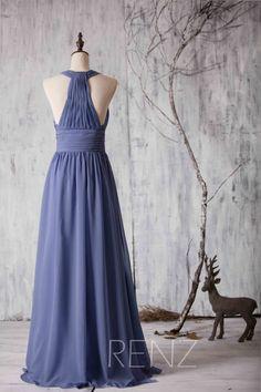 2016 Steel Blue Bridesmaid dress Chiffon Halter Strape by RenzRags