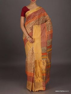 Arya Multi-Colour Line Pallu Jaipur #BagruPrintSaree