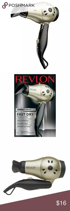 Revlon 1875W Compact Hairdryer Ceramic Ionic VOTED BEST TRAVEL HAIR DRYER 2017!  This is for a brand new, Revlon 1875w ceramic ionic hair dryer. It features a lightweight, compact folding design, making it perfect for traveling. The box has been opened. However, the hair dryer and parts are sealed in the original bag.  Features  Compact Design w/ Folding Handle  IONIC TECHNOLOGY & 3X Ceramic Coating to reduce frizz and damage  2 Heat/2 Speed Settings + Cool Shot Button   Smoothing…