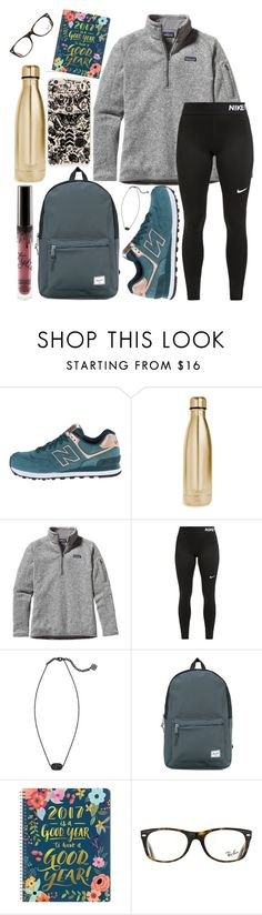 """School outfit"" by jadenriley21 ❤ liked on Polyvore featuring New Balance, S'well, Patagonia, NIKE, Kendra Scott, Herschel Supply Co. and Ray-Ban"