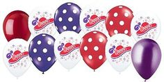 12-24 pc Red Hat Society Latex Balloon Happy Birthday Party Red Purple Polka Dot