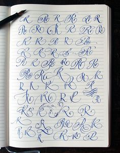 Majuscule R variants by Polish calligrapher Barbara Galinska on Behance