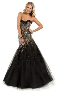 2014 Dazzling Gold Sequin Black Long Tulle Evening Gown