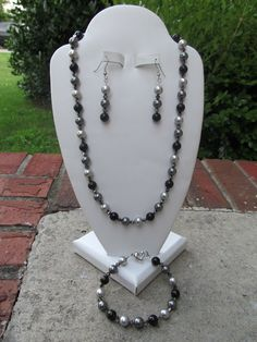 Wedding Jewelry Bridesmaids Black Gray Swarovski Crystals and Pearls Necklace, Bracelet, & Earrings Set Free Shipping