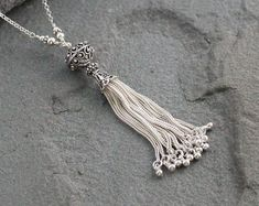 Sterling Silver Tassel Necklace on Long Chain Bali Bead Bali Jewelry, Tassel Jewelry, Tassel Necklace, Jewelry Gifts, Jewlery, Sterling Silver Necklaces, Silver Jewelry, Silver Beads, Long Silver Necklace