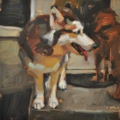 Carol Marine's Painting a Day: Let Us In Already - SOLD