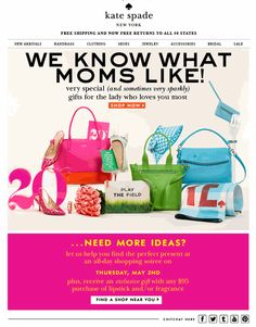 Eye-catching designs made this email pop, with a sub-message for a Mother's Day store party too.