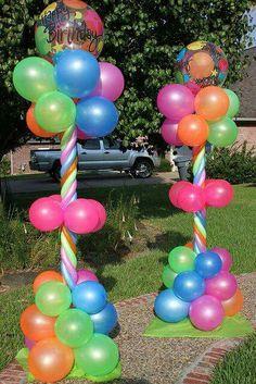 Neon Balloon Columns for a princess party. Balloon Columns, Balloon Arch, Balloon Ideas, Party Decoration, Birthday Decorations, Deco Ballon, Balloon Arrangements, Festa Party, Glow Party