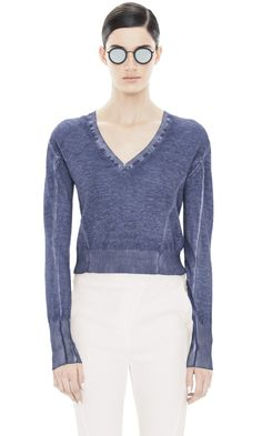 Acne Lia V (55% FLAX/LINEN, 45% cotton) cropped knit in Navy - the dye effect is absolutely to die for!