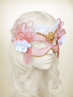 Masquerade mask covered with embroidery Pink and gold applique – Venetian style Halloween mask – for masked ball, ball, costume party, wedding Mascarade Mask, Gold Masquerade Mask, Bridal Mask, Mask Makeup, Eye Details, Kawaii Accessories, Fashion Mask, Gold Lace, Halloween Masks