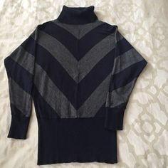 Forever 21 chevron turtleneck Grey and navy lightweight turtleneck sweater. In good condition. 60% cotton 40% acrylic Forever 21 Sweaters Cowl & Turtlenecks