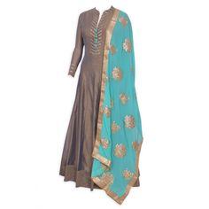Enchanting mouse brown stitched frock suit featuring in gota work-Mohan's the chic window Frock Suit Anarkali, Salwar Kurta, Patiala Suit, Benarasi Dupatta, Kanchipuram Saree, Indian Attire, Indian Suits, Indian Dresses, Latest Punjabi Suits