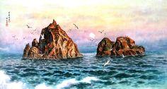 (North Korea) Dokdo island in the East sea by Han Hyeon-hi (1947-  ).
