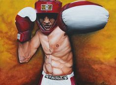 Manny Pacquiao Portrait, Boxing Art, Original Painting, Famous People barbosaart #Realism