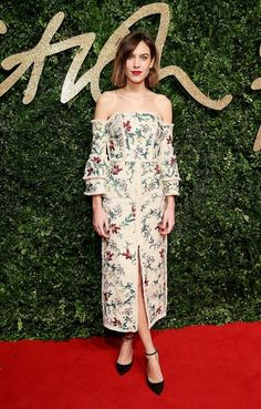 Alexa Chung wears a floral off-the-shoulder Erdem dress with ankle-strap heels