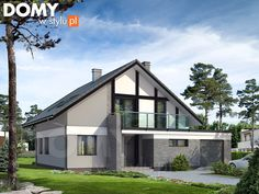 Projekt domu Orion - wizualizacja frontowa Girl House, Home Fashion, Teak, Cottage, Outdoor Structures, Mansions, Interior Design, Architecture, House Styles