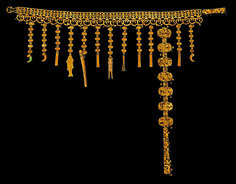 Belt with pendant ornaments. Korea, Silla kingdom, second half of 5th century. Excavated from the north mound of Hwangnam Daechong Tomb. Gold; L. 47 1/4 in. (120 cm) Gyeongju National Museum, Korea, National Treasure 192 Part of an exhibition called Silla: Korea's Golden Kingdom November 4, 2013-February 23, 2014
