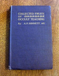 """Titled """"Collected Fruits of Occult Teaching"""" this antique book is a stated 1st edition printing from publisher T. Fisher Unwin, London, England. Printed in 1919, the book discusses a lifetime of esoteric knowledge gathered by the author. Sinnett was Vice-President of the Theosophical Society, he embraced the Society for Psychical Research, and was a member of the magical order """"The Golden Dawn"""". This work was written toward the end of his life, published when he was 79 years old."""