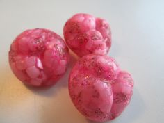 Vintage Buttons - 3 matching novelty confetti pink celluloid, 1950's (aug 200) by pillowtalkswf on Etsy