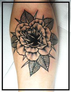 traditional rose tattoo old school rose tattoo