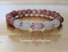 Rose Quartz Yoga Bracelet Rosewood Wrist Mala by BeautifulShades